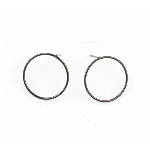 """Earring """"Round"""" Stainless steel anthracite"""