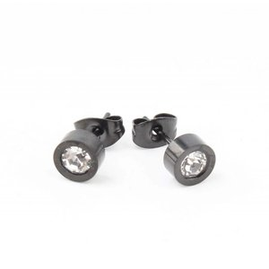 """Earring """"Rhinestone"""" stainless steel anthracite"""
