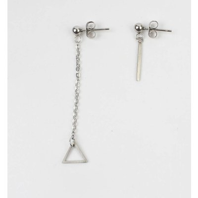 "Earring ""Triangle & Rod"" stainless steel silver"