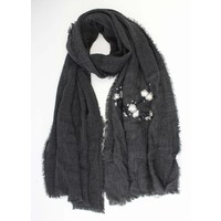 "Scarf ""Embroidered Japanese rosés"" grey"