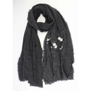 """Scarf """"Embroidered Japanese rosés"""" grey"""