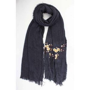 """Sjaal """"Geborduurde Japanse rozen"""" blauw"""