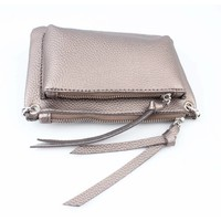 "Cross body bag ""Double pocket"" brown"