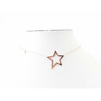 "Kurze Halskette ""Stern"" Edelstahl rosé"