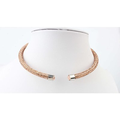 "Short necklace ""Rhinestone"" brown"