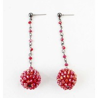 "Earring ""Rhinestone ball"" red"