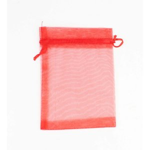 Organza bag red M, per 50pcs.