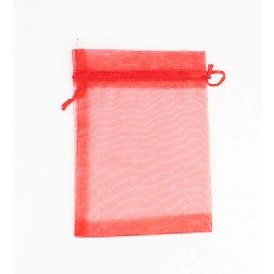 Organza bag red M, per 50pcs.