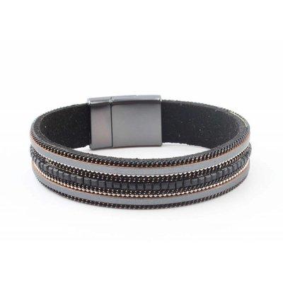 "Armband ""Kette & Strass"" schwarz"