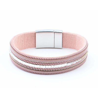 """Armband """"Ketting & Strass"""" roze"""