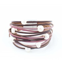 """Armband """"Zoetwaterparels"""" paars"""