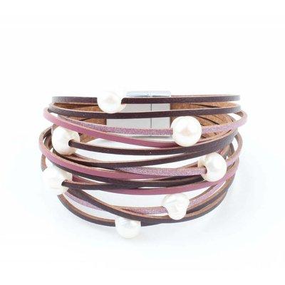 "Leather bracelet ""Freshwater pearls"" Purple"