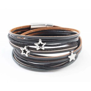 "Wrap bracelet ""stars"" grey/black"