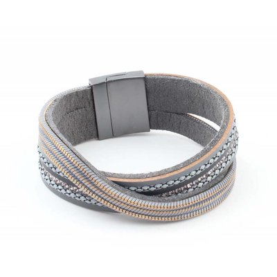 "Bracelet ""Crossed row"" grey"