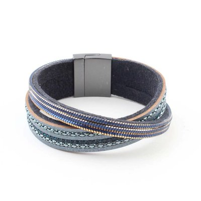 "Armband ""Gekreuzte Zeile"" blau"