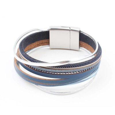 """Armband """"Multi Rijen"""" blauw"""