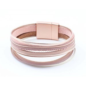 """Armband """"Multi Rijen"""" roze"""