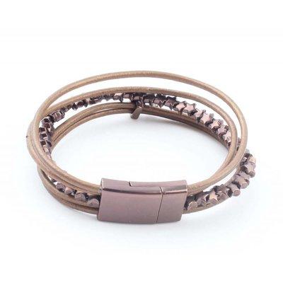 """Leder armband """"Stern"""" goldbraun"""