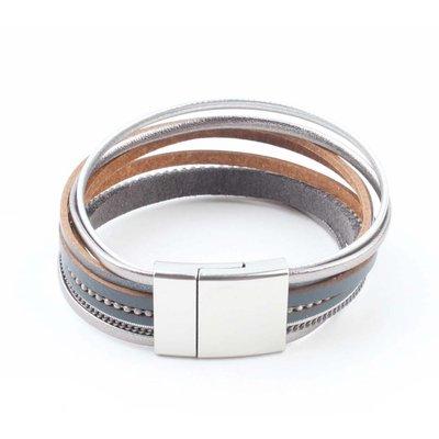 "Armband ""Multi Rijen"" grijs"