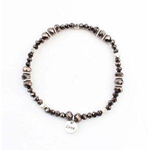 "Rhinestone bracelet ""Ramona"" grey/brown"