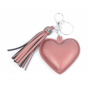 """Schlüsselanhänger """"Herz & Quaste"""" pink"""