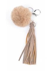 "Keychain ""Rabbits tail & Tassel"" brown"