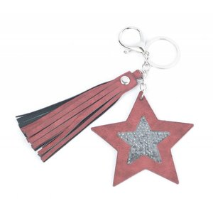 "Keychain ""Star & Tassel"" red"