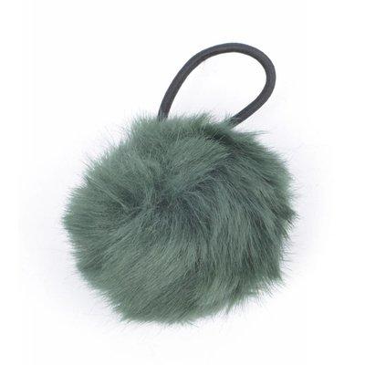 """Hair elastics """"Rabbits tail"""" green, per 2pcs."""