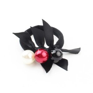 "Hair elastics ""Balls"" black/red, per 3pcs."
