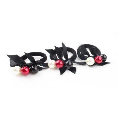 """Haarelastieken """"Balletjes"""" zwart/rood, per 3st."""