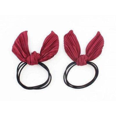 """Hair elastics """"Plissé"""" red, per 2pcs."""