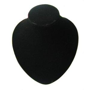 Nek rond, fluweel zwart 18cm hoog