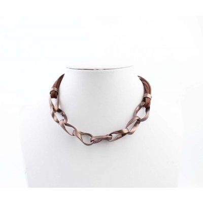 """Kürze Halskette """"Geschaltet Links"""" braun"""