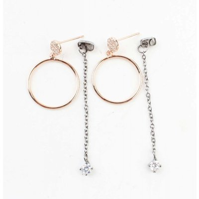 "Ohrring ""Ring & Kette"" rosé"