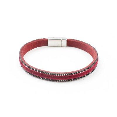 "Armband ""Fluweel"" kakhi rood"