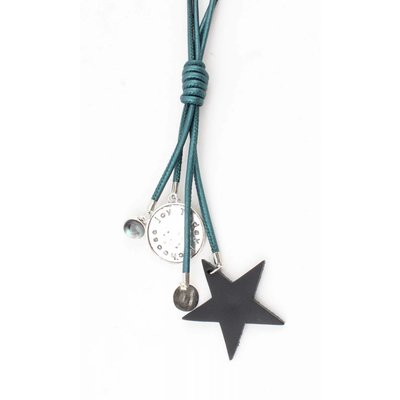 "Long necklace ""Star & Coins"" petrol metallic"