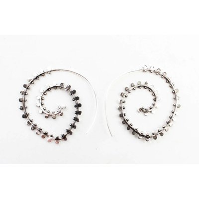 """Earring Spiral """"duplicate rows"""" silver"""