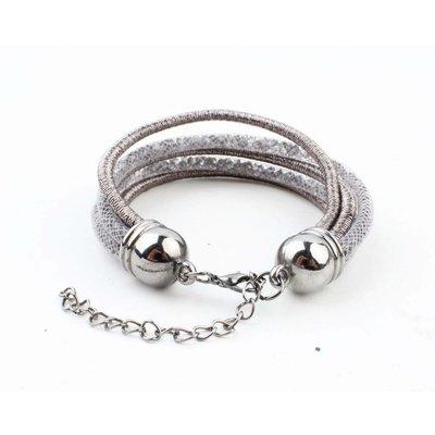 """Armband """"5-rijen"""" grijs"""