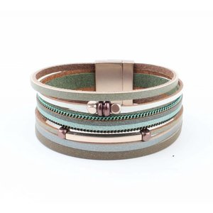 "Wrap bracelet ""Cube & Tube"" green"