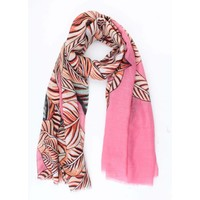 "Scarf ""Tropical leaves"" pink"