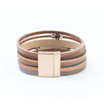 """Wickel-Armband """"Würfel & Tube"""" braun"""