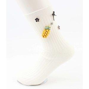 """Socken """"Ananas"""" weiß"""