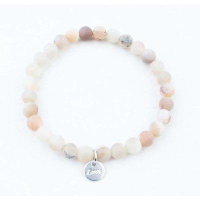 "Armband natuursteen ""Moonstone"" mat roze"