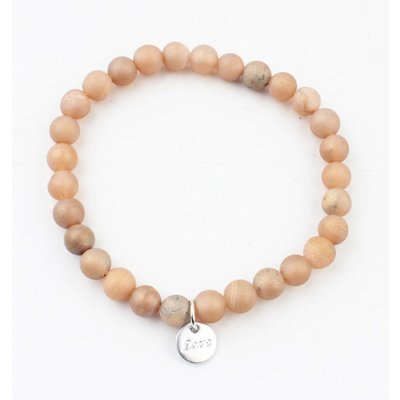 "Armband natuursteen ""Pink Moonstone"" licht bruin"