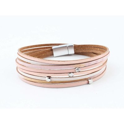 "Wrap bracelet leather "" Petro "" pink"