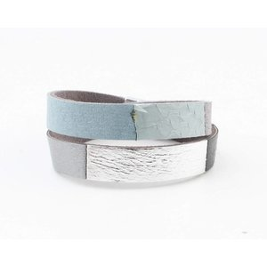 "Wrap bracelet leather "" Nella "" grey"