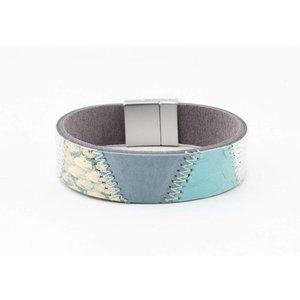 "Bracelet leather "" Kamila "" aqua"