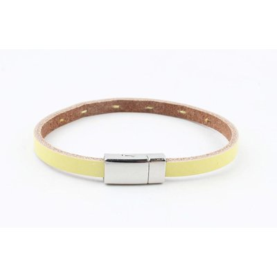 "Bracelet leather "" Aster "" lemon yellow"