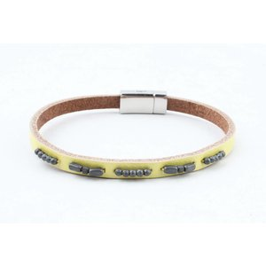 "Bracelet leather "" Aster "" lemon yellow"