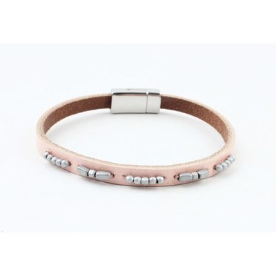 "Armband leer ""Aster""  licht roze"